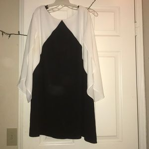 Black and white mid thigh dress